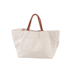 Low Cost for Canvas Shopping Bags Plain Canvas Shopping Tote Bags with PU Handle export to Niue Factory